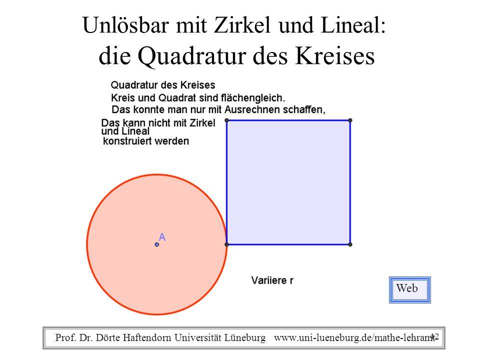 Prof. Dr. Dörte Haftendorn Universität Lüneburg www.uni-lueneburg.de/mathe-lehramt Unlösbar mit Zirkel und Lineal: die Quadratur des Kreises Web 42