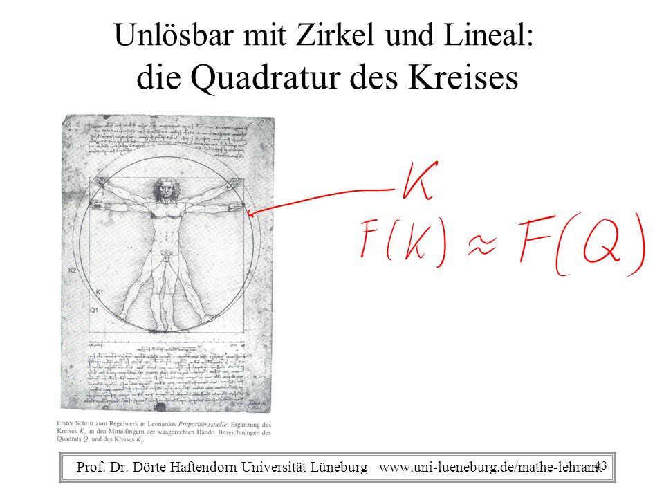 Prof. Dr. Dörte Haftendorn Universität Lüneburg www.uni-lueneburg.de/mathe-lehramt Unlösbar mit Zirkel und Lineal: die Quadratur des Kreises 43