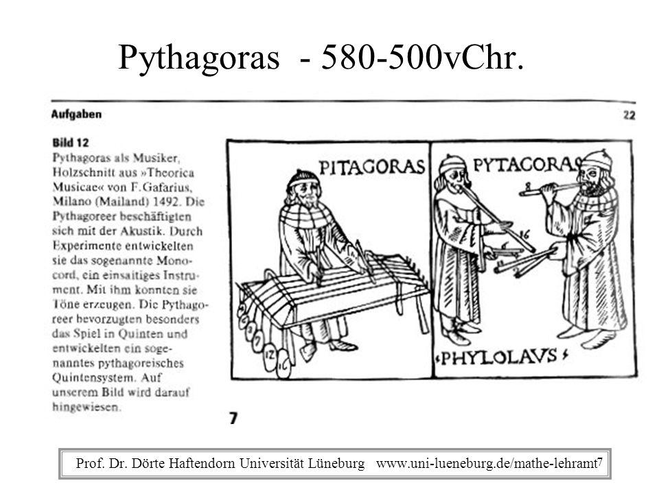 Prof. Dr. Dörte Haftendorn Universität Lüneburg www.uni-lueneburg.de/mathe-lehramt Pythagoras - 580-500vChr. 7