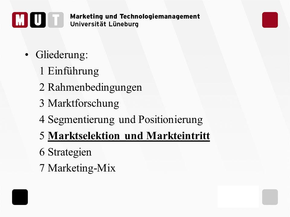 Gliederung: 1 Einführung 2 Rahmenbedingungen 3 Marktforschung 4 Segmentierung und Positionierung 5 Marktselektion und Markteintritt 6 Strategien 7 Mar