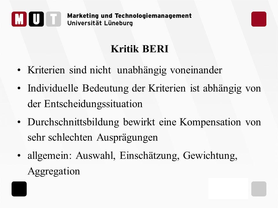 Kritik BERI Kriterien sind nicht unabhängig voneinander Individuelle Bedeutung der Kriterien ist abhängig von der Entscheidungssituation Durchschnitts