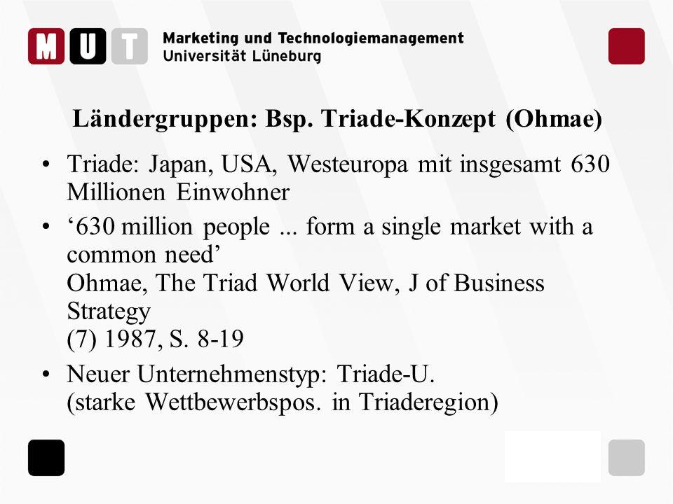 Ländergruppen: Bsp. Triade-Konzept (Ohmae) Triade: Japan, USA, Westeuropa mit insgesamt 630 Millionen Einwohner 630 million people... form a single ma