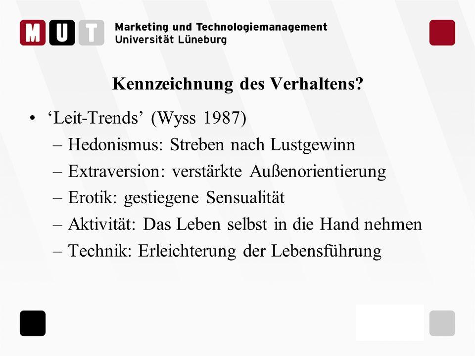 Kennzeichnung des Verhaltens? Leit-Trends (Wyss 1987) –Hedonismus: Streben nach Lustgewinn –Extraversion: verstärkte Außenorientierung –Erotik: gestie