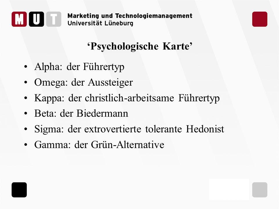 Psychologische Karte Alpha: der Führertyp Omega: der Aussteiger Kappa: der christlich-arbeitsame Führertyp Beta: der Biedermann Sigma: der extrovertie