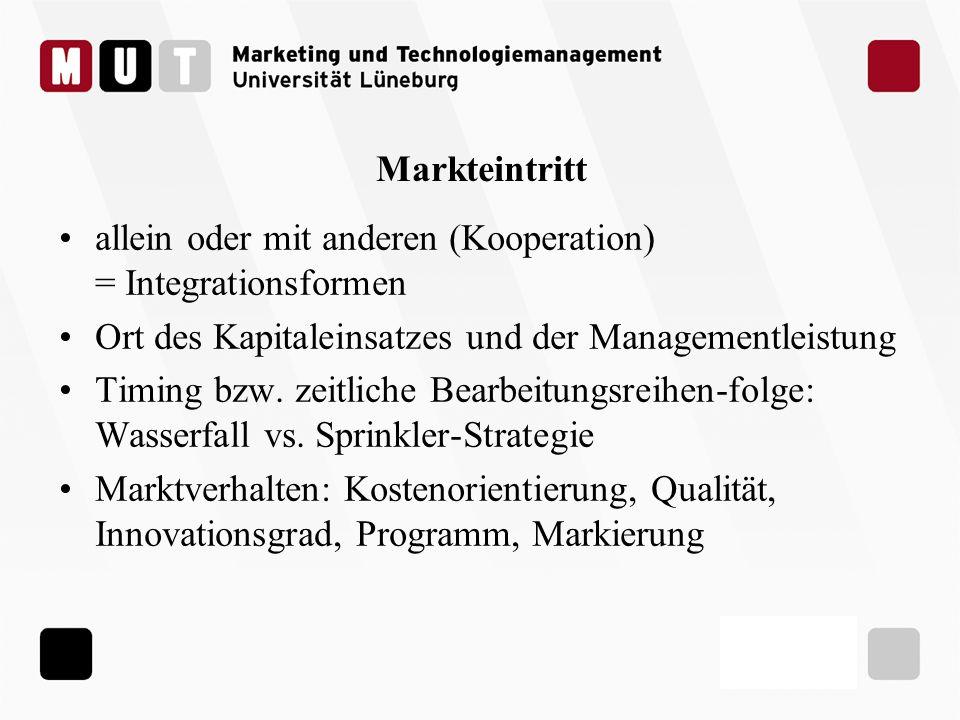 Markteintritt allein oder mit anderen (Kooperation) = Integrationsformen Ort des Kapitaleinsatzes und der Managementleistung Timing bzw. zeitliche Bea