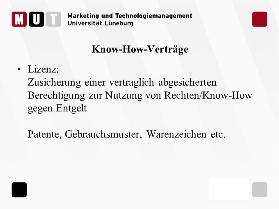Know-How-Verträge Lizenz: Zusicherung einer vertraglich abgesicherten Berechtigung zur Nutzung von Rechten/Know-How gegen Entgelt Patente, Gebrauchsmu