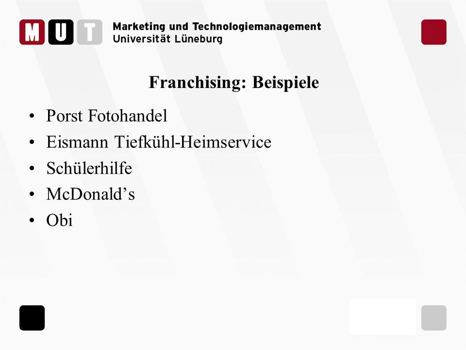 Franchising: Beispiele Porst Fotohandel Eismann Tiefkühl-Heimservice Schülerhilfe McDonalds Obi