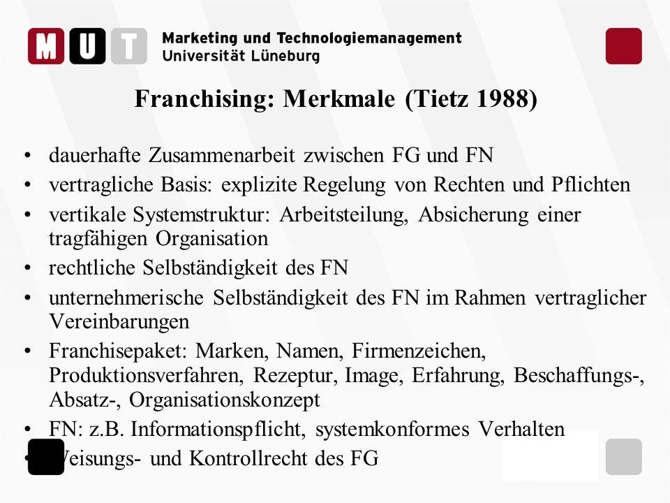 Franchising: Merkmale (Tietz 1988) dauerhafte Zusammenarbeit zwischen FG und FN vertragliche Basis: explizite Regelung von Rechten und Pflichten verti