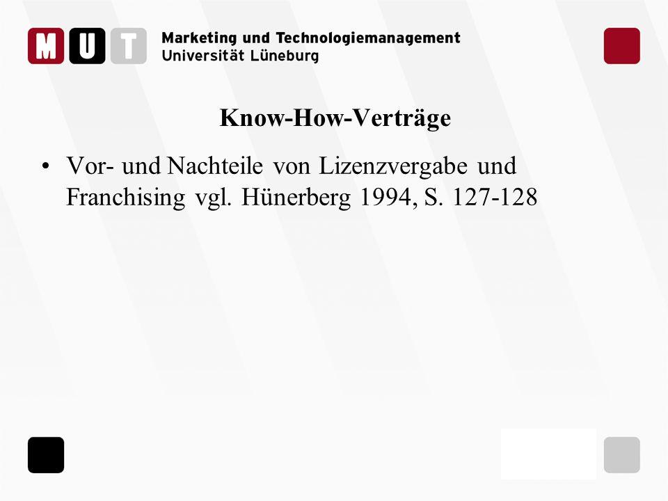 Know-How-Verträge Vor- und Nachteile von Lizenzvergabe und Franchising vgl. Hünerberg 1994, S. 127-128