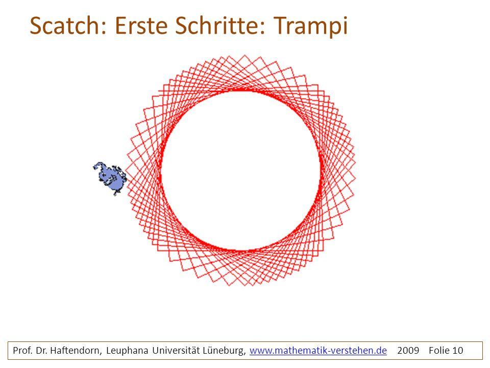 Scatch: Erste Schritte: Trampi Prof. Dr. Haftendorn, Leuphana Universität Lüneburg, www.mathematik-verstehen.de 2009 Folie 10www.mathematik-verstehen.