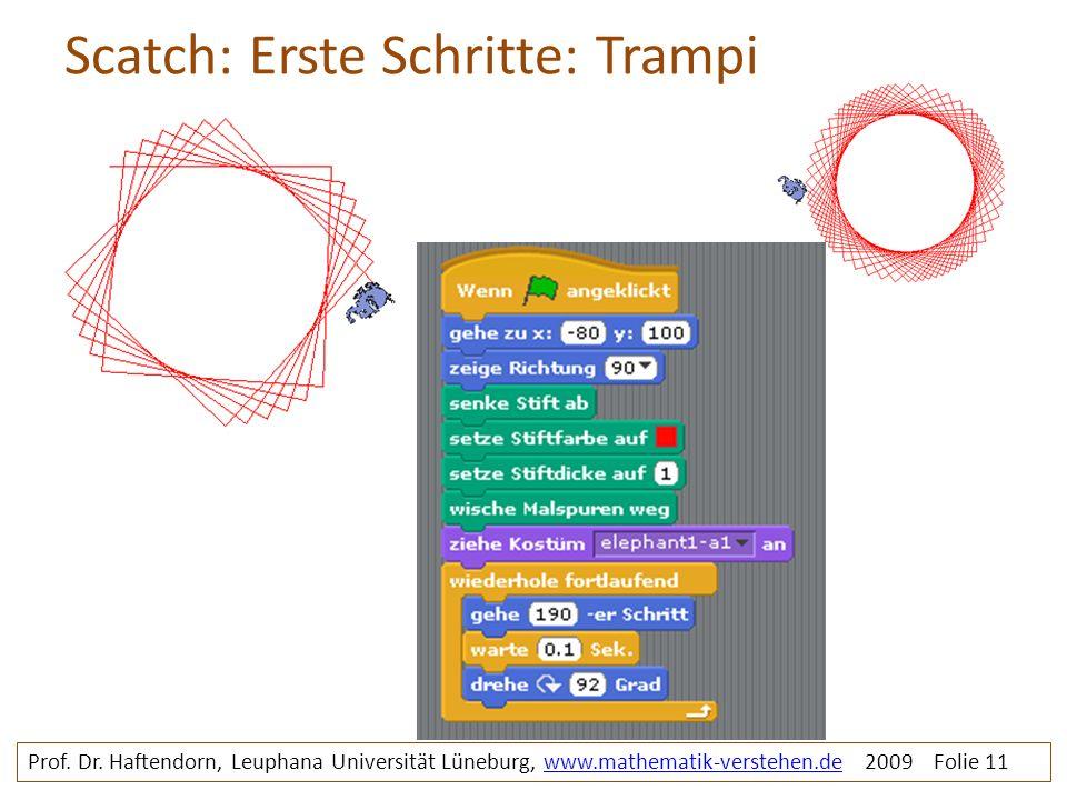 Scatch: Erste Schritte: Trampi Prof. Dr. Haftendorn, Leuphana Universität Lüneburg, www.mathematik-verstehen.de 2009 Folie 11www.mathematik-verstehen.