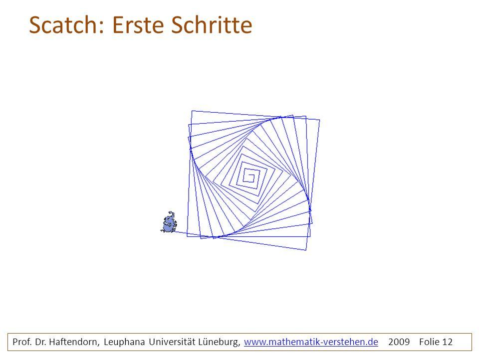 Scatch: Erste Schritte Prof. Dr. Haftendorn, Leuphana Universität Lüneburg, www.mathematik-verstehen.de 2009 Folie 12www.mathematik-verstehen.de