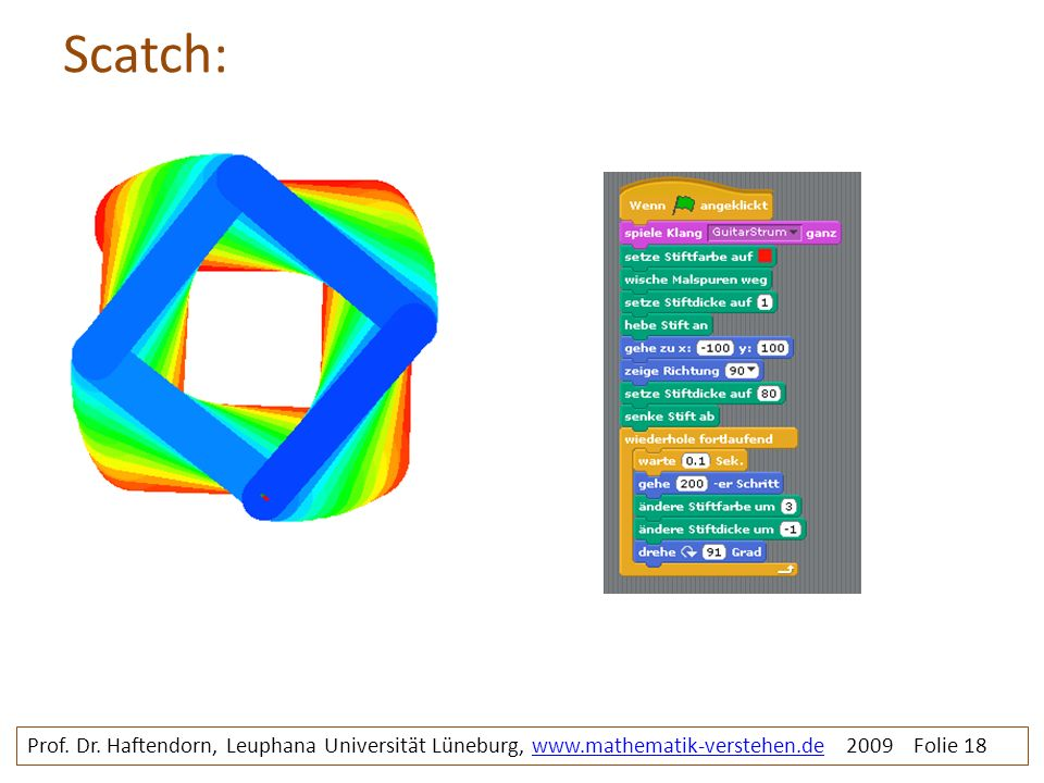 Scatch: Prof. Dr. Haftendorn, Leuphana Universität Lüneburg, www.mathematik-verstehen.de 2009 Folie 18www.mathematik-verstehen.de