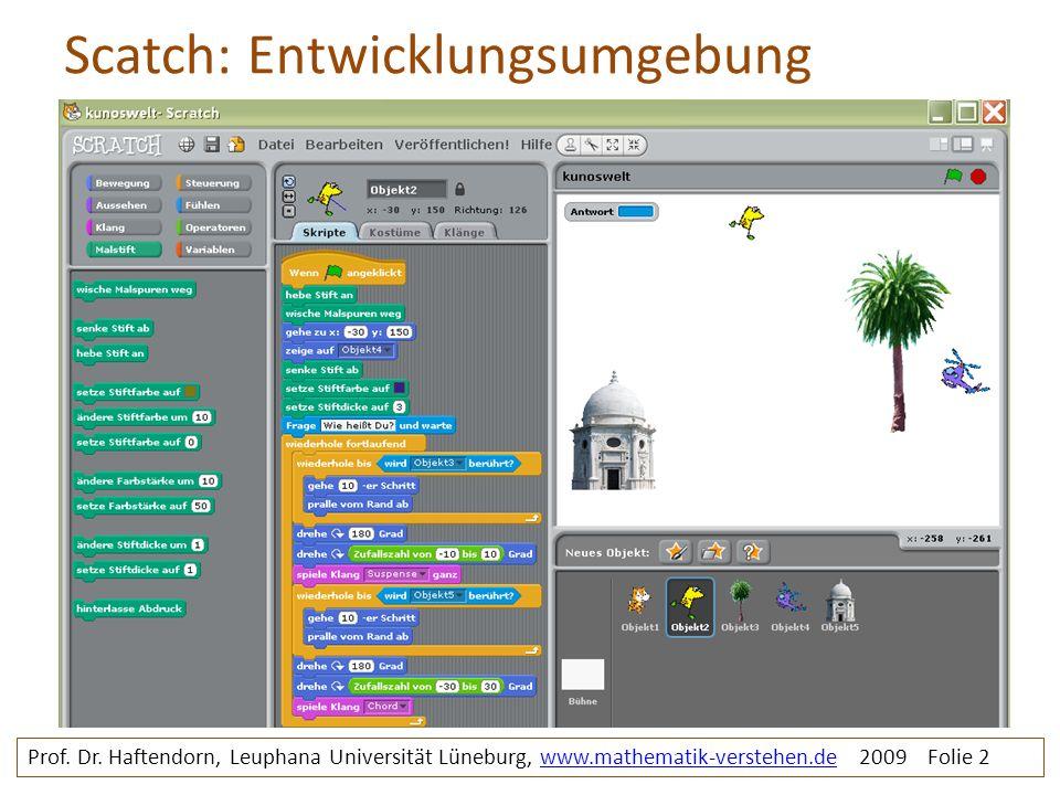 Scatch: Entwicklungsumgebung Prof. Dr. Haftendorn, Leuphana Universität Lüneburg, www.mathematik-verstehen.de 2009 Folie 2www.mathematik-verstehen.de