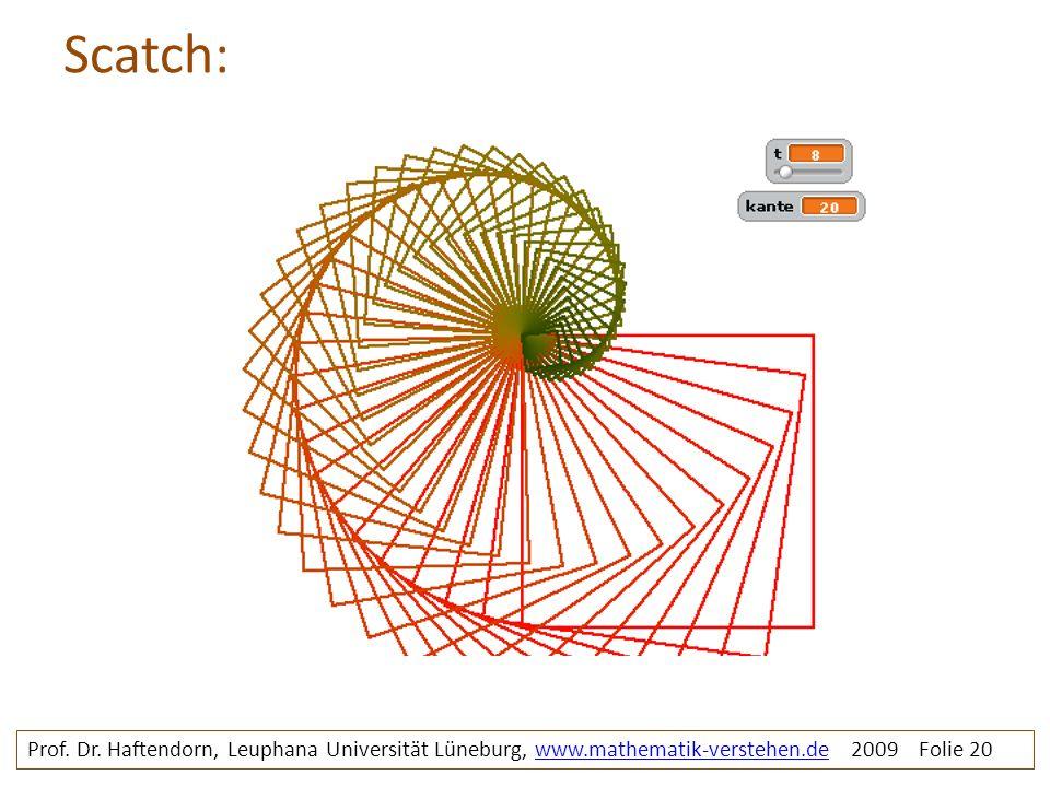 Scatch: Prof. Dr. Haftendorn, Leuphana Universität Lüneburg, www.mathematik-verstehen.de 2009 Folie 20www.mathematik-verstehen.de