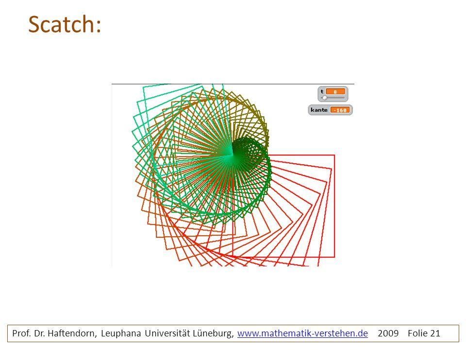 Scatch: Prof. Dr. Haftendorn, Leuphana Universität Lüneburg, www.mathematik-verstehen.de 2009 Folie 21www.mathematik-verstehen.de