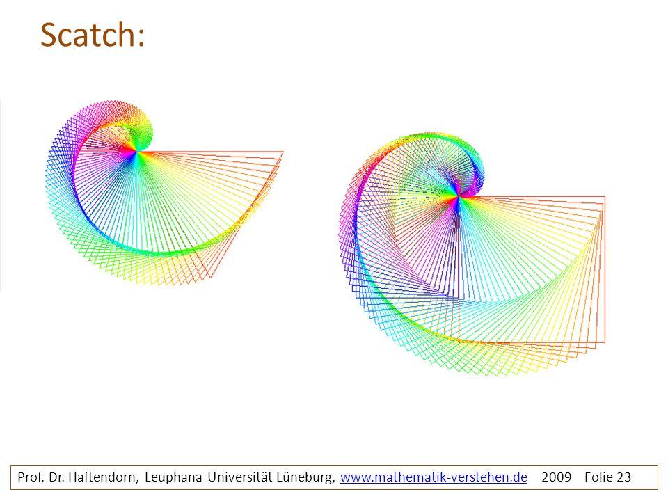 Scatch: Prof. Dr. Haftendorn, Leuphana Universität Lüneburg, www.mathematik-verstehen.de 2009 Folie 23www.mathematik-verstehen.de