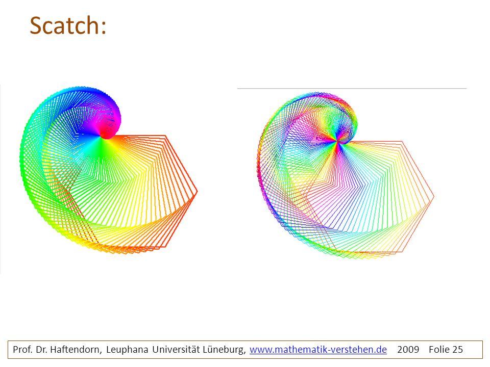Scatch: Prof. Dr. Haftendorn, Leuphana Universität Lüneburg, www.mathematik-verstehen.de 2009 Folie 25www.mathematik-verstehen.de