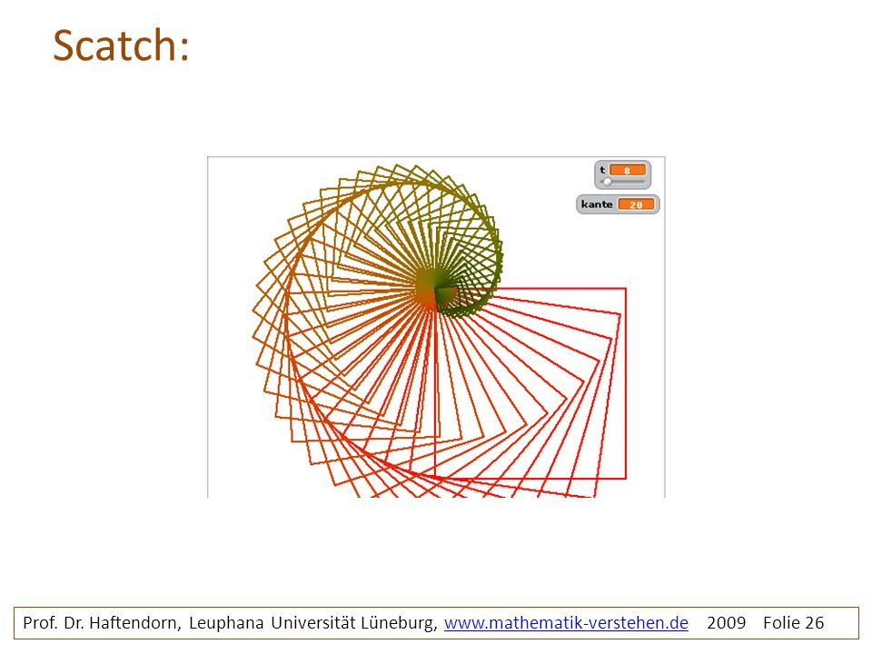 Scatch: Prof. Dr. Haftendorn, Leuphana Universität Lüneburg, www.mathematik-verstehen.de 2009 Folie 26www.mathematik-verstehen.de