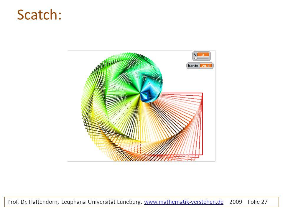 Scatch: Prof. Dr. Haftendorn, Leuphana Universität Lüneburg, www.mathematik-verstehen.de 2009 Folie 27www.mathematik-verstehen.de