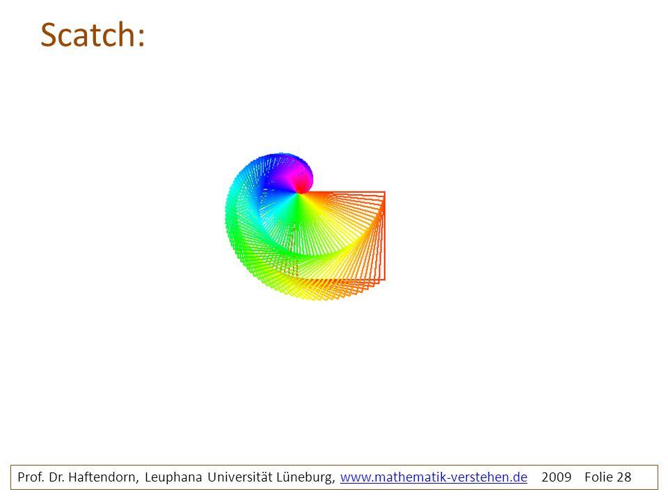 Scatch: Prof. Dr. Haftendorn, Leuphana Universität Lüneburg, www.mathematik-verstehen.de 2009 Folie 28www.mathematik-verstehen.de