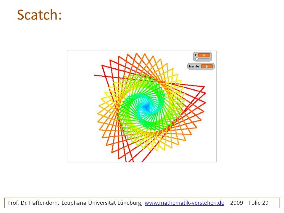 Scatch: Prof. Dr. Haftendorn, Leuphana Universität Lüneburg, www.mathematik-verstehen.de 2009 Folie 29www.mathematik-verstehen.de
