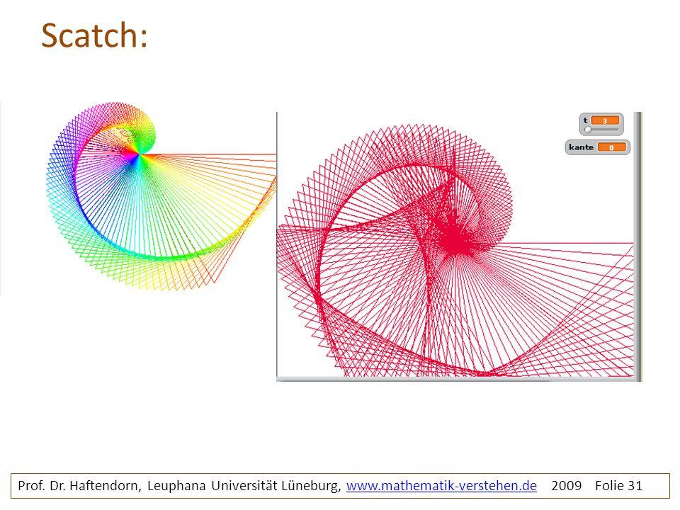 Scatch: Prof. Dr. Haftendorn, Leuphana Universität Lüneburg, www.mathematik-verstehen.de 2009 Folie 31www.mathematik-verstehen.de