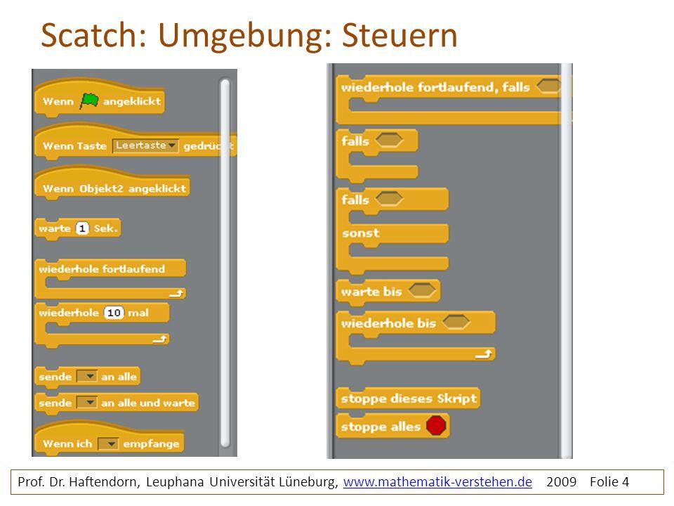 Scatch: Umgebung: Steuern Prof. Dr. Haftendorn, Leuphana Universität Lüneburg, www.mathematik-verstehen.de 2009 Folie 4www.mathematik-verstehen.de