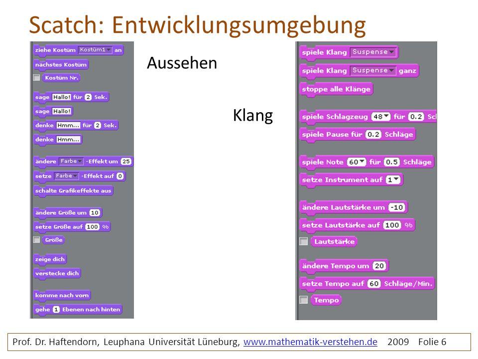 Scatch: Entwicklungsumgebung Prof. Dr. Haftendorn, Leuphana Universität Lüneburg, www.mathematik-verstehen.de 2009 Folie 6www.mathematik-verstehen.de