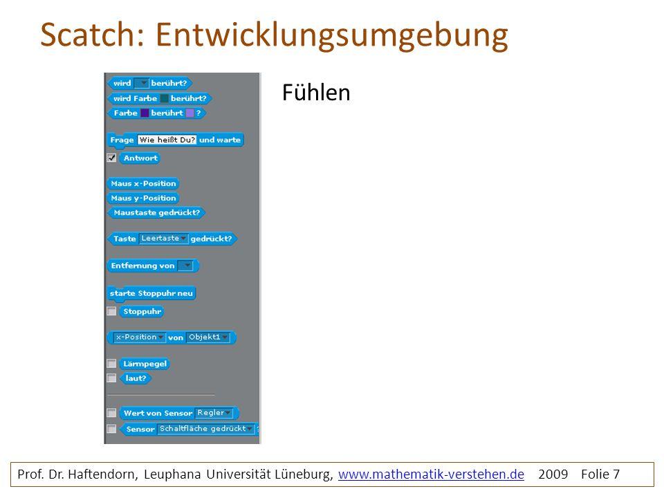 Scatch: Entwicklungsumgebung Prof. Dr. Haftendorn, Leuphana Universität Lüneburg, www.mathematik-verstehen.de 2009 Folie 7www.mathematik-verstehen.de
