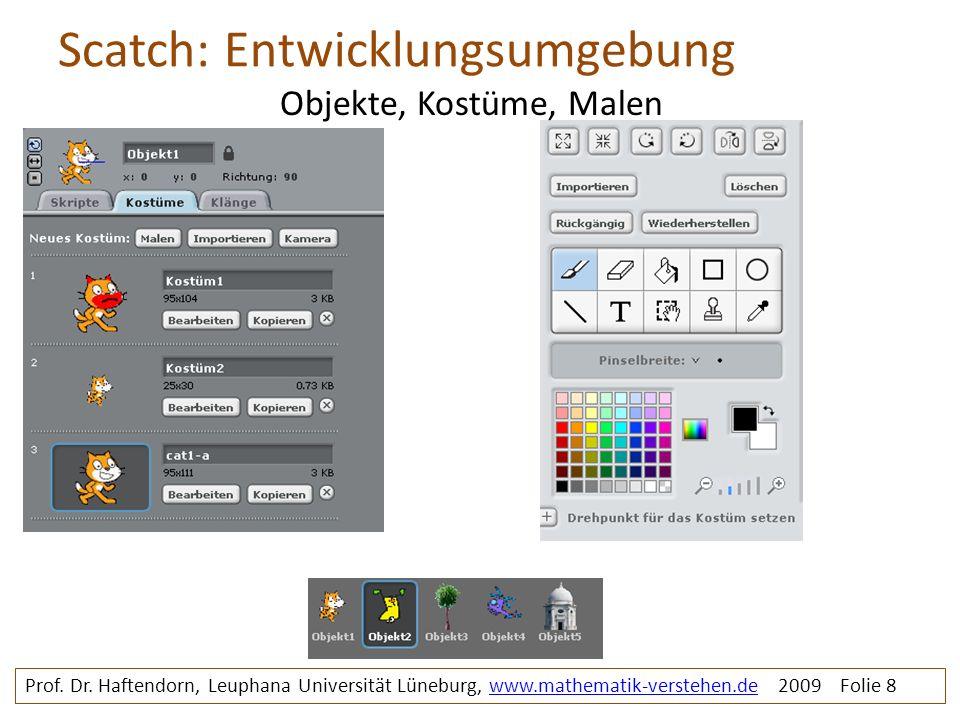 Scatch: Entwicklungsumgebung Prof. Dr. Haftendorn, Leuphana Universität Lüneburg, www.mathematik-verstehen.de 2009 Folie 8www.mathematik-verstehen.de