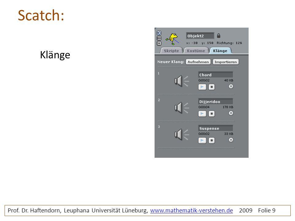 Scatch: Prof. Dr. Haftendorn, Leuphana Universität Lüneburg, www.mathematik-verstehen.de 2009 Folie 9www.mathematik-verstehen.de Klänge