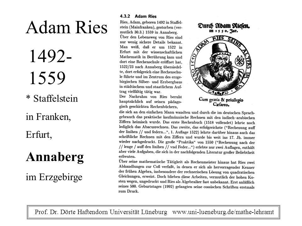 Prof. Dr. Dörte Haftendorn Universität Lüneburg www.uni-lueneburg.de/mathe-lehramt Adam Ries 1492- 1559 * Staffelstein in Franken, Erfurt, Annaberg im