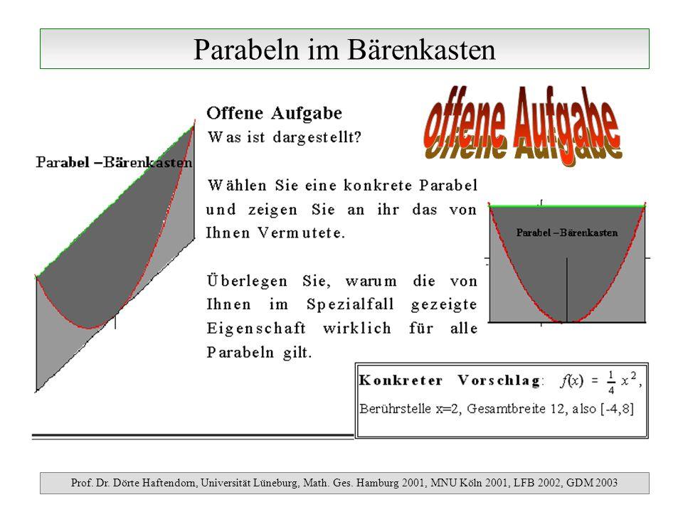 Parabeln im Bärenkasten Prof. Dr. Dörte Haftendorn, Universität Lüneburg, Math. Ges. Hamburg 2001, MNU Köln 2001, LFB 2002, GDM 2003