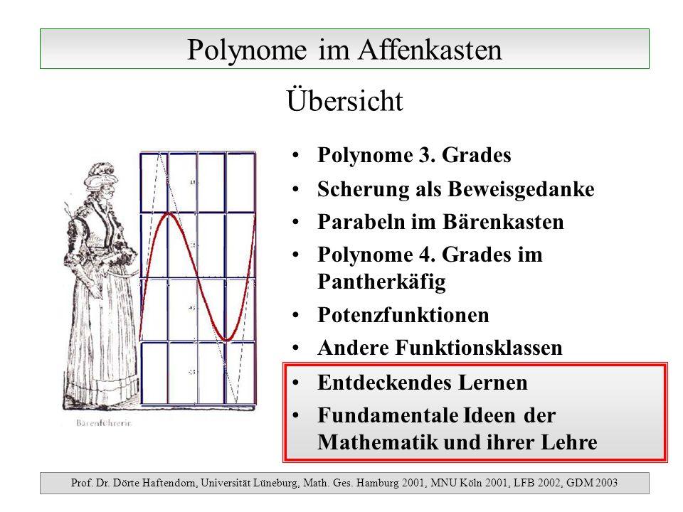 Polynome im Affenkasten Prof. Dr. Dörte Haftendorn, Universität Lüneburg, Math. Ges. Hamburg 2001, MNU Köln 2001, LFB 2002, GDM 2003 Polynome 3. Grade