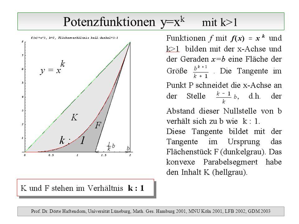 Potenzfunktionen y=x k mit k>1 Prof. Dr. Dörte Haftendorn, Universität Lüneburg, Math. Ges. Hamburg 2001, MNU Köln 2001, LFB 2002, GDM 2003