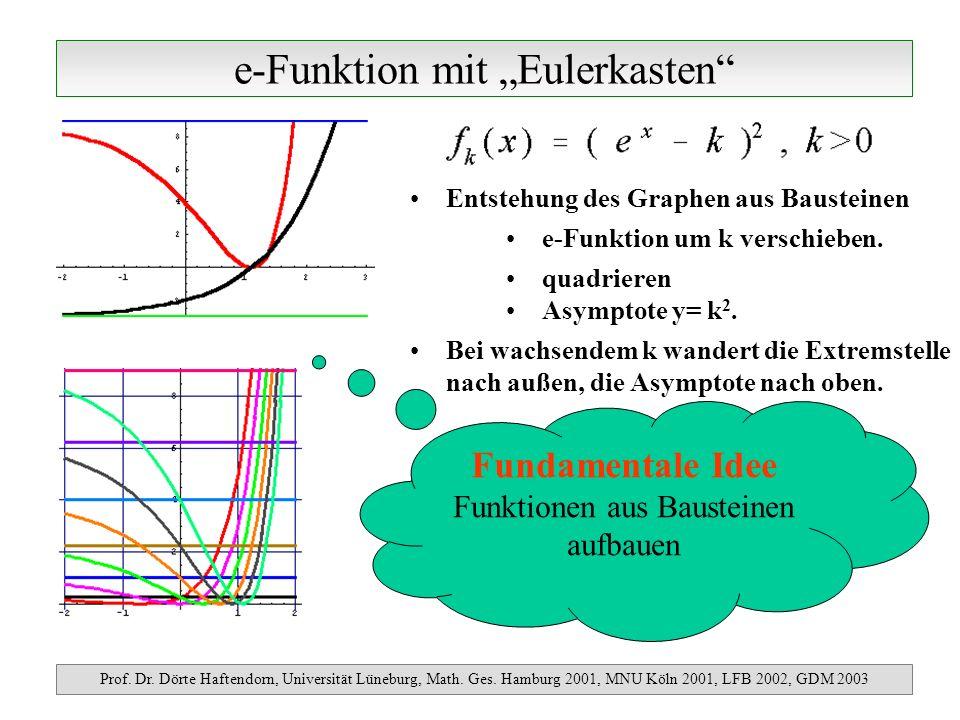 e-Funktion mit Eulerkasten Prof. Dr. Dörte Haftendorn, Universität Lüneburg, Math. Ges. Hamburg 2001, MNU Köln 2001, LFB 2002, GDM 2003 Entstehung des
