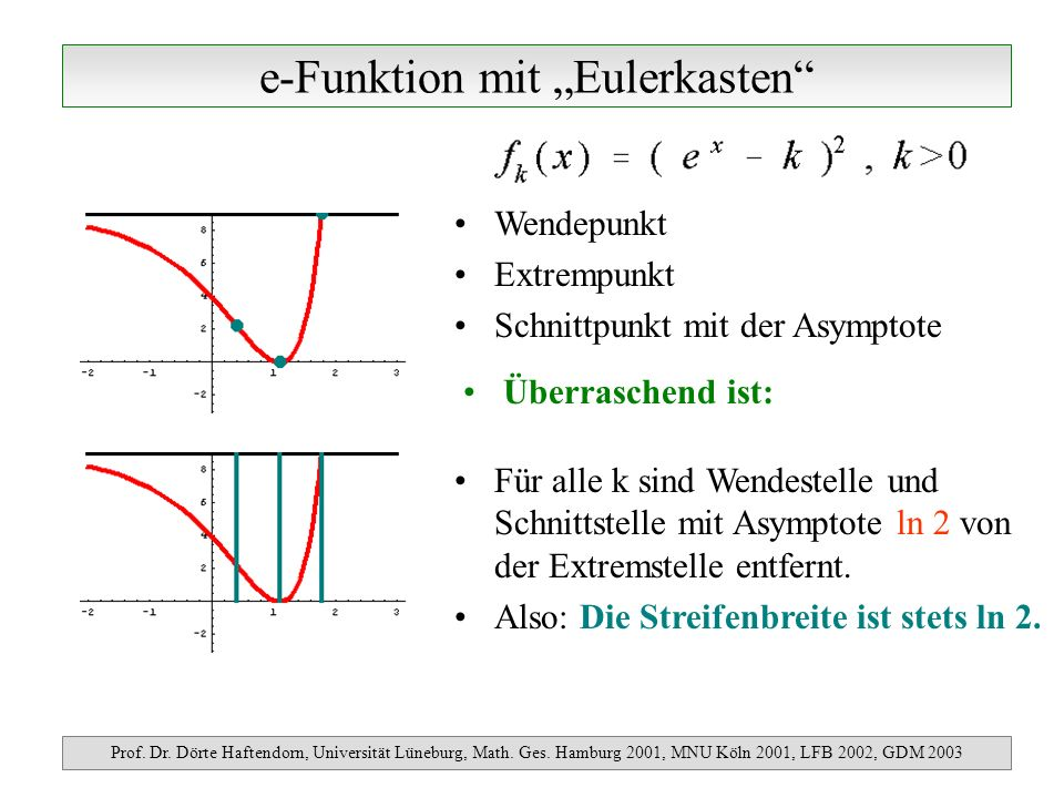 e-Funktion mit Eulerkasten Prof. Dr. Dörte Haftendorn, Universität Lüneburg, Math. Ges. Hamburg 2001, MNU Köln 2001, LFB 2002, GDM 2003 Überraschend i