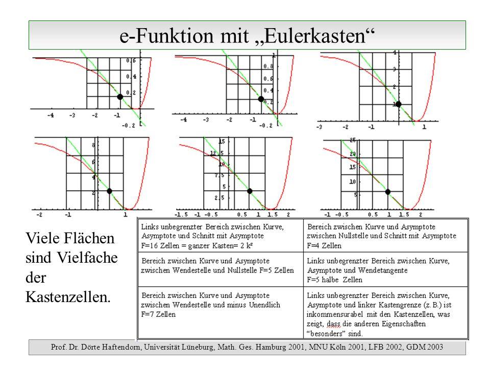 e-Funktion mit Eulerkasten Prof. Dr. Dörte Haftendorn, Universität Lüneburg, Math. Ges. Hamburg 2001, MNU Köln 2001, LFB 2002, GDM 2003 Viele Flächen