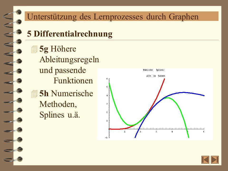 Unterstützung des Lernprozesses durch Graphen 4 5g Höhere Ableitungsregeln und passende Funktionen 4 5h Numerische Methoden, Splines u.ä. 5 Differenti