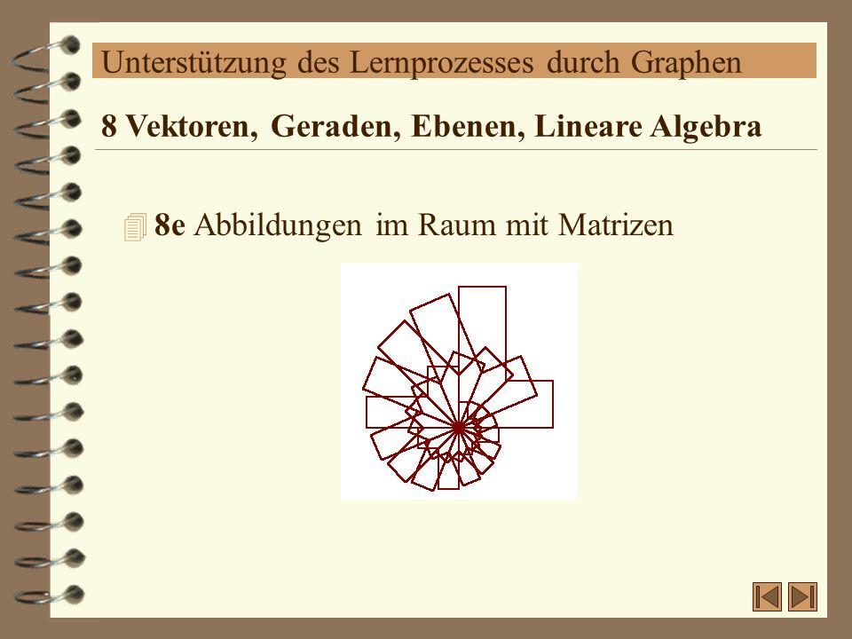 Unterstützung des Lernprozesses durch Graphen 4 8e Abbildungen im Raum mit Matrizen 8 Vektoren, Geraden, Ebenen, Lineare Algebra