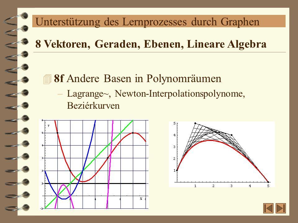 Unterstützung des Lernprozesses durch Graphen 4 8f Andere Basen in Polynomräumen –Lagrange~, Newton-Interpolationspolynome, Beziérkurven 8 Vektoren, G