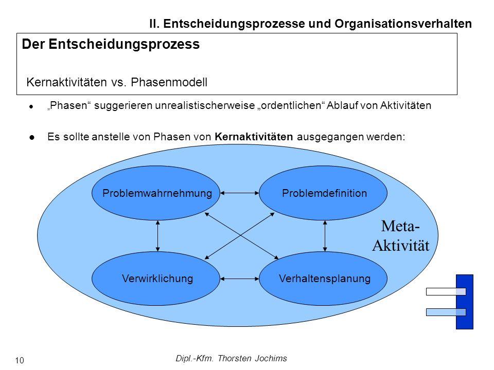 Dipl.-Kfm. Thorsten Jochims 10 Der Entscheidungsprozess Kernaktivitäten vs. Phasenmodell II. Entscheidungsprozesse und Organisationsverhalten Phasen s