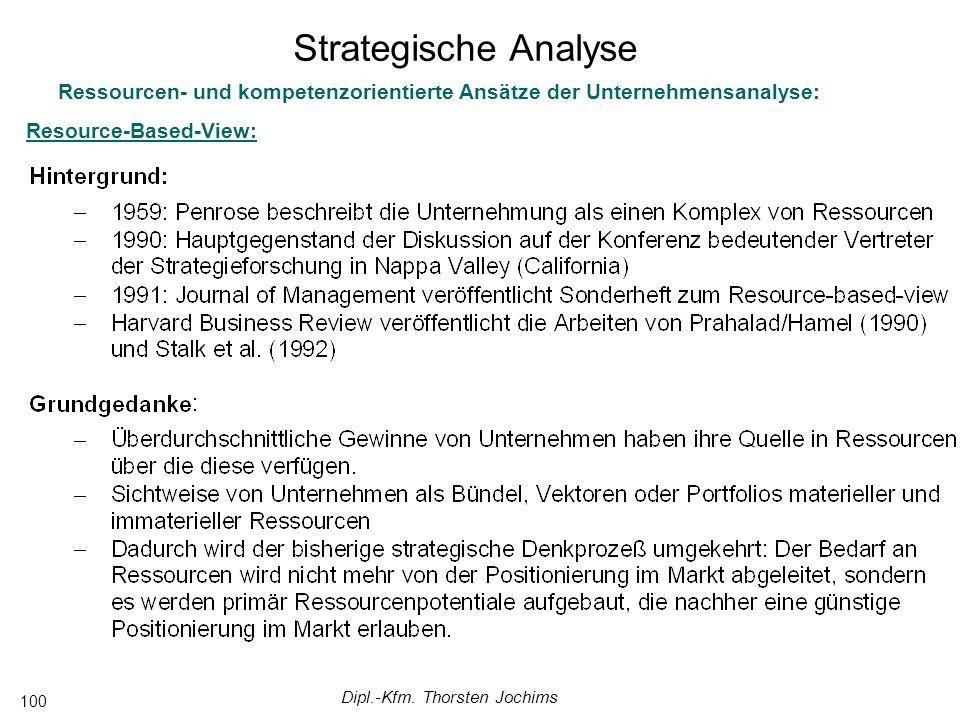 Dipl.-Kfm. Thorsten Jochims 100 Ressourcen- und kompetenzorientierte Ansätze der Unternehmensanalyse: Resource-Based-View: Strategische Analyse