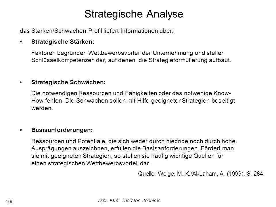 Dipl.-Kfm. Thorsten Jochims 105 das Stärken/Schwächen-Profil liefert Informationen über: Strategische Stärken: Faktoren begründen Wettbewerbsvorteil d