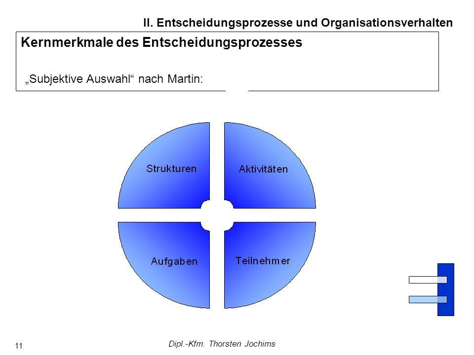 Dipl.-Kfm. Thorsten Jochims 11 Kernmerkmale des Entscheidungsprozesses Subjektive Auswahl nach Martin: II. Entscheidungsprozesse und Organisationsverh
