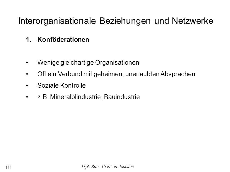 Dipl.-Kfm. Thorsten Jochims 111 Interorganisationale Beziehungen und Netzwerke 1.Konföderationen Wenige gleichartige Organisationen Oft ein Verbund mi