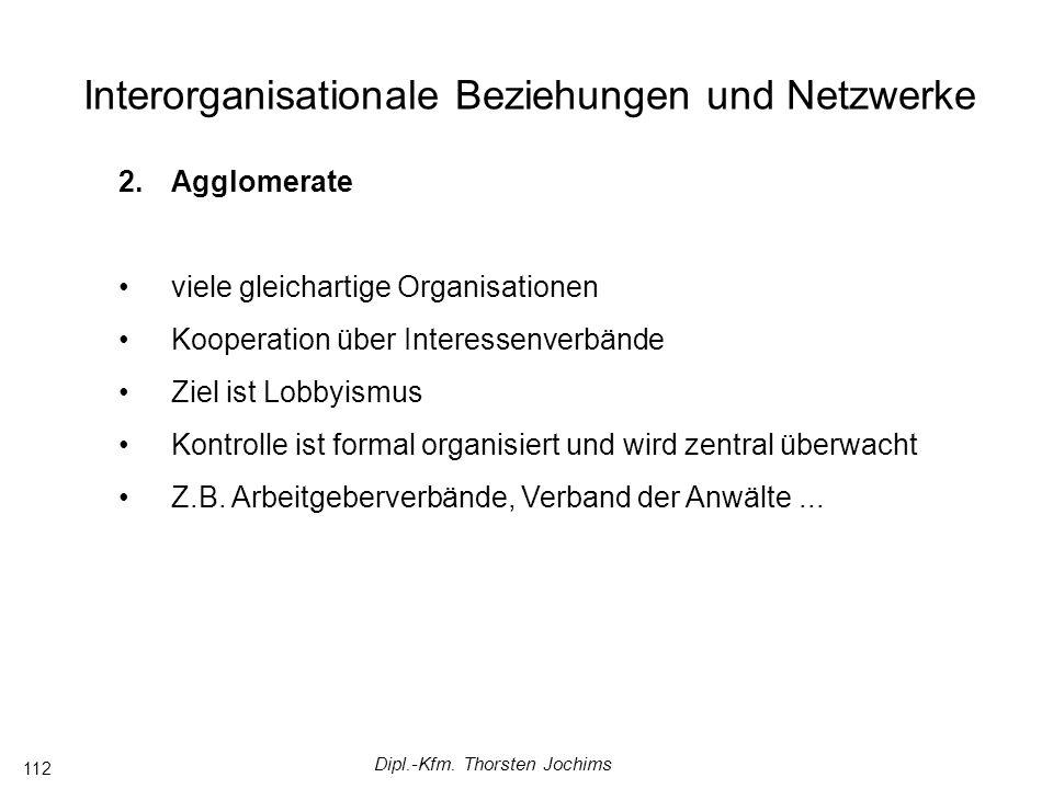 Dipl.-Kfm. Thorsten Jochims 112 Interorganisationale Beziehungen und Netzwerke 2.Agglomerate viele gleichartige Organisationen Kooperation über Intere
