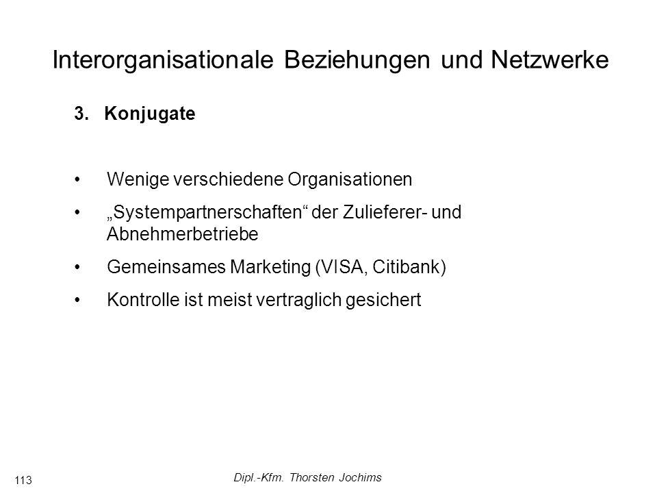 Dipl.-Kfm. Thorsten Jochims 113 Interorganisationale Beziehungen und Netzwerke 3.