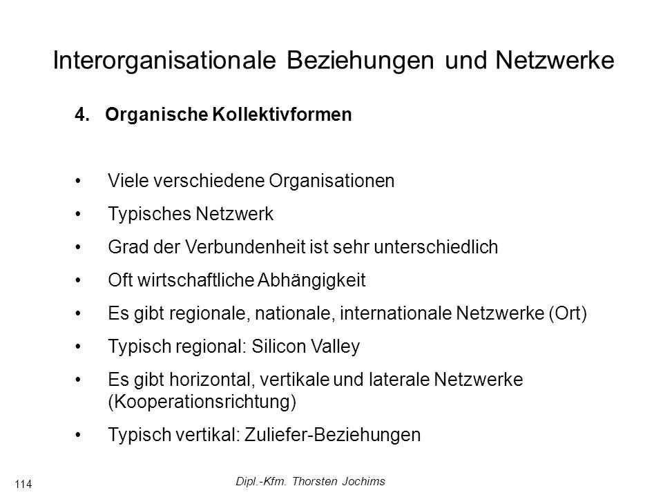 Dipl.-Kfm. Thorsten Jochims 114 Interorganisationale Beziehungen und Netzwerke 4.